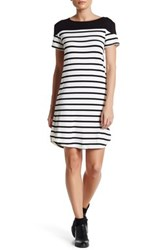 Loveappella Striped Short Sleeve Tee Dress Petite Black