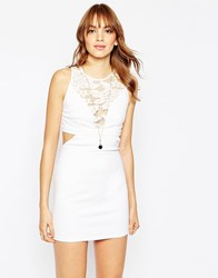 Wyldr Look Out Dress With Cut Outs And Lace Inserts White