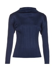 Issey Miyake Pleated High Neck Long Sleeved Top Navy