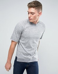 Jack And Jones Originals T Shirt With Raw Drop Edge Hem Raglan Sleeve Light Grey