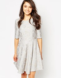 Traffic People Audrey Dress In Damask Jacquard Grey