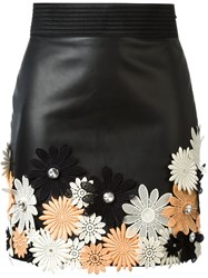 Emanuel Ungaro Flower Applique Mini Skirt Black