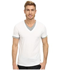 Boss Orange Tulis Short Sleeve Double Layer V Neck White Men's Short Sleeve Pullover
