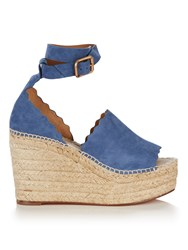Chloe Lauren Suede Espadrille Wedge Sandals Light Blue