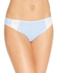 Charter Club Pointelle Cotton Bikini Blue White Dot