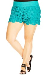 City Chic Plus Size Women's Tiered Lace Short Shorts