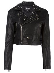 Just Cavalli Cropped Studded Biker Jacket Black
