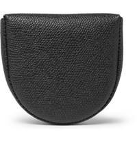 Valextra Pebble Grain Leather Coin Wallet Black