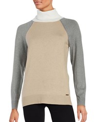 Calvin Klein Colorblocked Turtleneck Heather Latte