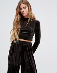 Glamorous Velvet Polo Neck Crop Top Co Ord Charcoal Black