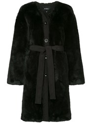 Goen.J Single Breasted Belted Coat Black