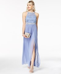 Amy Byer Bcx Juniors' Embellished Lace Halter Gown A Macy's Exclusive Style Periwinkle