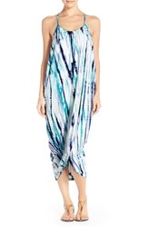 Women's Green Dragon Tie Dye Cover Up Dress Navy