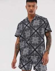 Good For Nothing Co Ord Revere Collar Shirt In Black Paisley Print