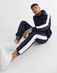 Brave Soul Striped Tapered Trousers Navy