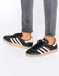 Adidas Originals Black And Pink Gazelle Trainers With Gum Sole Core Black