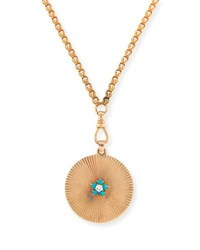 Turner And Tatler 14K Gold Medallion Diamond Pendant Necklace With Turquoise