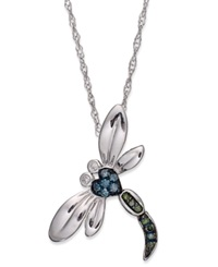 Macy's Sterling Silver Necklace Blue And Green Diamond Accent Dragonfly Pendant 1 10 Ct. T.W.