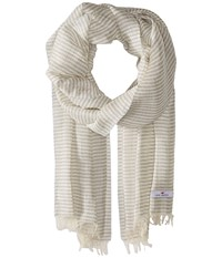 Love Quotes Linen Cotton Narrow Stripe Stone White Scarves