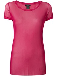 Avant Toi Round Neck Tulle T Shirt Pink