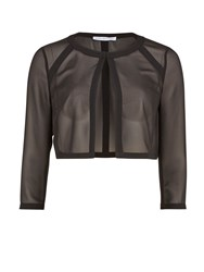 Gina Bacconi Chiffon Jacket With Crepe Band Detail. Black