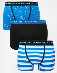 French Connection 3 Pack Trunks In Stripe And Spot Print Blue