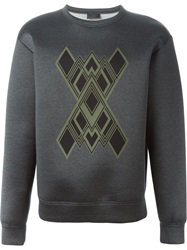 Les Hommes Stylized Print Sweater Grey
