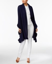 Charter Club Wool Cashmere Ruffled Wrap Only At Macy's Intrepid Blue