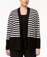 Anne Klein Plus Size Striped Open Cardigan Black White