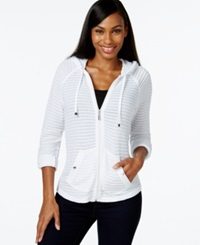 Style And Co. Petite Illusion Stripe Zipper Front Hoodie Only At Macy's Bright White
