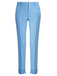 Gucci Ruffle Trimmed Silk And Wool Blend Cady Trousers Blue