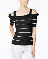 Grace Elements Striped Ruffled Cold Shoulder Sweater Black White Stripe