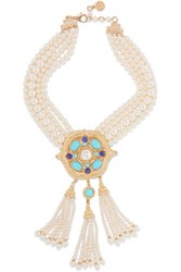 Ben Amun Gold Plated Faux Pearl And Stone Necklace White