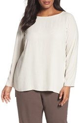 Eileen Fisher Plus Size Women's Silk Geogette Crepe High Low Blouse Bone