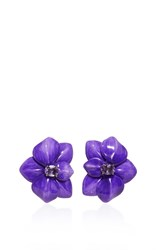 Sabbadini Amethyst Flower Earrings Purple