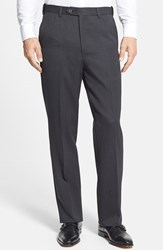 Men's Berle Self Sizer Waist Flat Front Wool Gabardine Trousers Charcoal