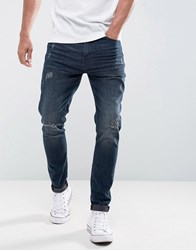 Casual Friday Regular Fit Jeans With Distressing In Dark Blue Wash Blue