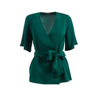 Wtr Sonnet Belted Silk Wrap Top Emerald Green