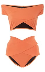 Oye Lucette Banded Bikini Set Coral