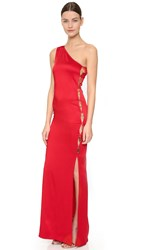 Moschino One Shoulder Gown Red