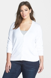 Sejour V Neck Cardigan Plus Size White