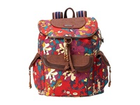 Sakroots Artist Circle Flap Backpack Crimson Flower Power Backpack Bags Red