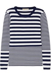 Michael Michael Kors Striped Ribbed Stretch Knit Sweater Navy