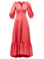 Luisa Beccaria V Neck Puff Sleeved Gathered Satin Dress Dark Pink