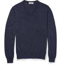 Canali V Neck Cotton Sweater Blue