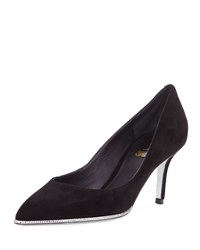Rene Caovilla Crystal Trim Suede 70Mm Pump Black Black W Crystal