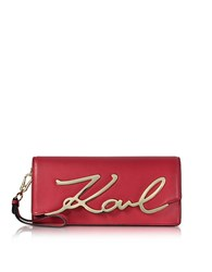 Karl Lagerfeld Cherry Red Leather K Signature Clutch
