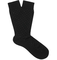 Pantherella Regent Pin Dot Cotton Blend Socks Black