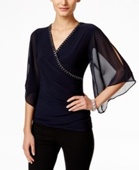 Msk Embellished Faux Wrap Top Deep Navy