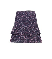 Etoile Isabel Marant Naomi Floral Cotton Mini Skirt Blue